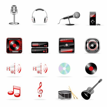 Vector music and audio icon set isolated on white Stock Photo - Budget Royalty-Free & Subscription, Code: 400-04221003