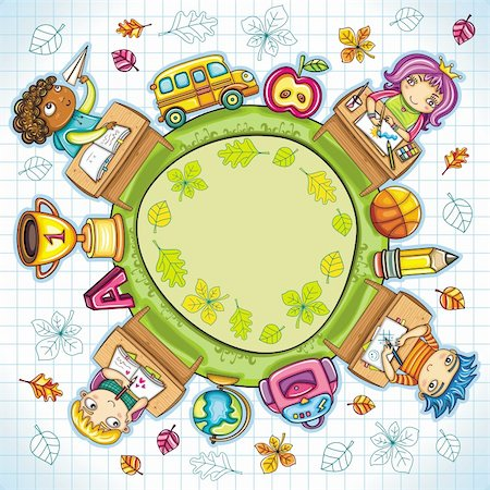 students learning cartoon - Colorful round composition, with cute schoolchildren and school design elements. with space for your text. Stock Photo - Budget Royalty-Free & Subscription, Code: 400-04222146
