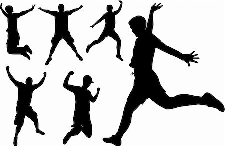 simsearch:400-04222950,k - people jumping silhouettes - vector Stock Photo - Budget Royalty-Free & Subscription, Code: 400-04222238