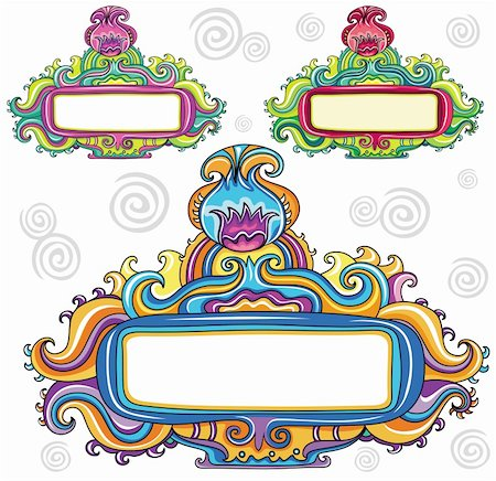 flower clipart paint - Floral curly frames (floral series) Stock Photo - Budget Royalty-Free & Subscription, Code: 400-04222701