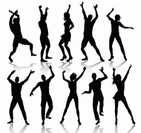 simsearch:400-04222950,k - Dancing people silhouettes isolalated on white background Stock Photo - Budget Royalty-Free & Subscription, Code: 400-04222943