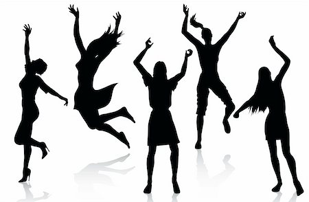 simsearch:400-04222950,k - Active women silhouettes isolated on white background Stock Photo - Budget Royalty-Free & Subscription, Code: 400-04222950