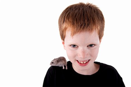 Cute boy with hamster on shoulder Stock Photo - Budget Royalty-Free & Subscription, Code: 400-04223371