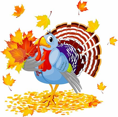 Cartoon Turkey with autumn bouquet, isolated on white background Stock Photo - Budget Royalty-Free & Subscription, Code: 400-04223802