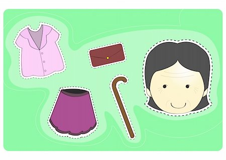 face woman beautiful clipart - Old woman with variety of clothes for dress-up cartoon vector illustration Stock Photo - Budget Royalty-Free & Subscription, Code: 400-04223922