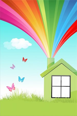 illustration of colorful natural home Stock Photo - Budget Royalty-Free & Subscription, Code: 400-04234085