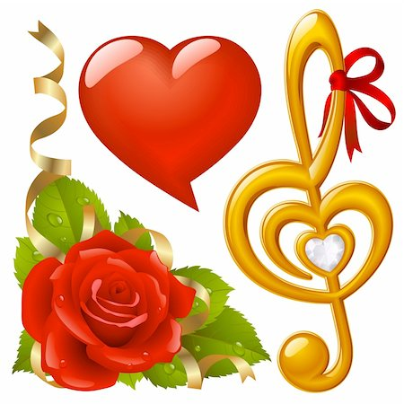 Vector set of Love: corner with red rose, femail lips in the shape of heart and golden Treble clef Stock Photo - Budget Royalty-Free & Subscription, Code: 400-04234394