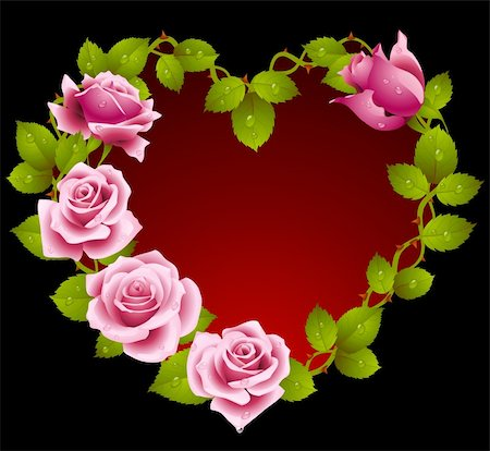 Framework from pink roses in the shape of heart Stock Photo - Budget Royalty-Free & Subscription, Code: 400-04234397
