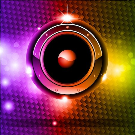 High Tech Futuristic Music Disco Background with glowing Rainbow lights Stock Photo - Budget Royalty-Free & Subscription, Code: 400-04235535