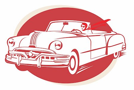 Retro car vector illustration Stock Photo - Budget Royalty-Free & Subscription, Code: 400-04235573