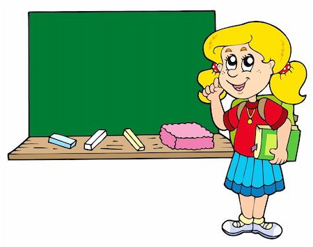 Advising school girl with blackboard - vector illustration. Stock Photo - Budget Royalty-Free & Subscription, Code: 400-04235683