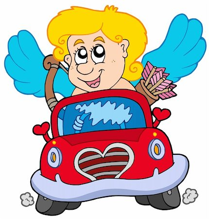 Cupid in red car - vector illustration. Stock Photo - Budget Royalty-Free & Subscription, Code: 400-04235717