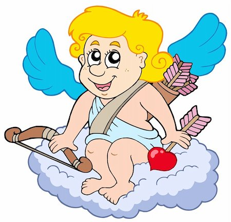 flying hearts clip art - Cupid on cloud - vector illustration. Stock Photo - Budget Royalty-Free & Subscription, Code: 400-04235719