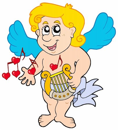 flying hearts clip art - Cupid playing harp - vector illustration. Stock Photo - Budget Royalty-Free & Subscription, Code: 400-04235721