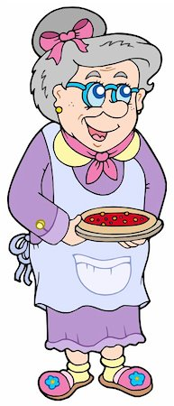 Granny with cake - vector illustration. Stock Photo - Budget Royalty-Free & Subscription, Code: 400-04235756