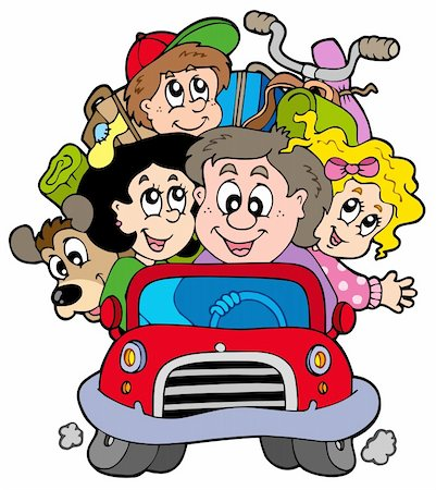 Happy family in car on vacation - vector illustration. Stock Photo - Budget Royalty-Free & Subscription, Code: 400-04235764