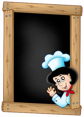 Blackboard with lurking woman chef - color illustration. Stock Photo - Budget Royalty-Free & Subscription, Code: 400-04235800