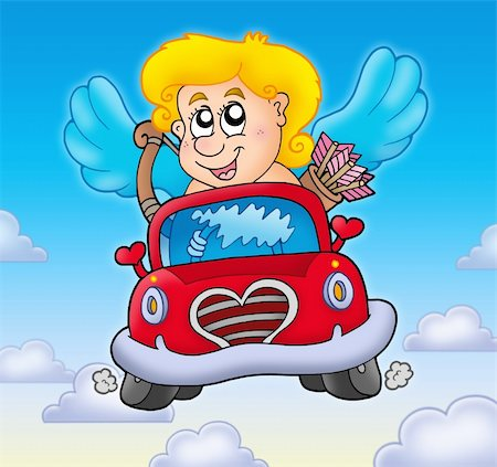 Cupid in red car on sky - color illustration. Stock Photo - Budget Royalty-Free & Subscription, Code: 400-04235836
