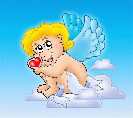 flying hearts clip art - Cupid with heart on blue sky - color illustration. Stock Photo - Budget Royalty-Free & Subscription, Code: 400-04235843