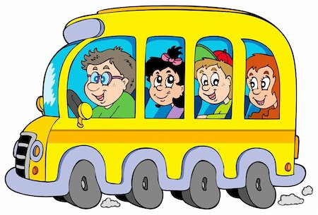 Cartoon school bus with kids - vector illustration. Stock Photo - Budget Royalty-Free & Subscription, Code: 400-04236063