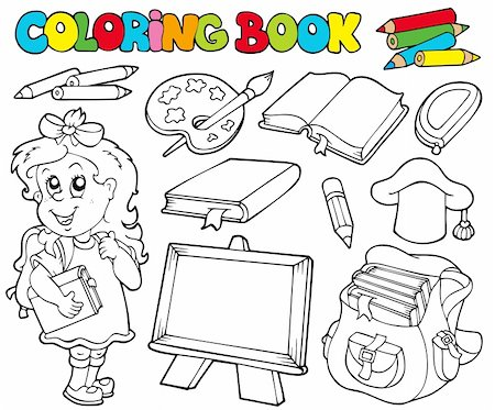 Coloring book with school theme 1 - vector illustration. Stock Photo - Budget Royalty-Free & Subscription, Code: 400-04236258