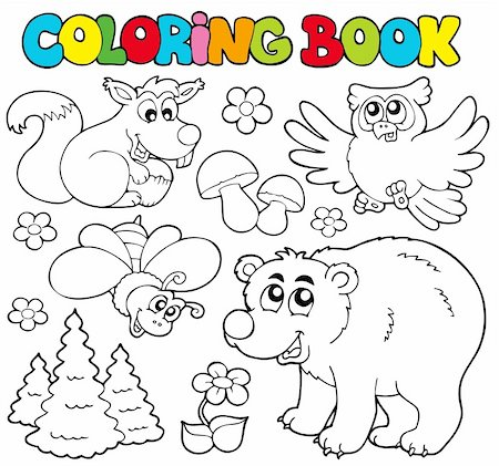 flower clipart paint - Coloring book with forest animals 1 - vector illustration. Stock Photo - Budget Royalty-Free & Subscription, Code: 400-04236253