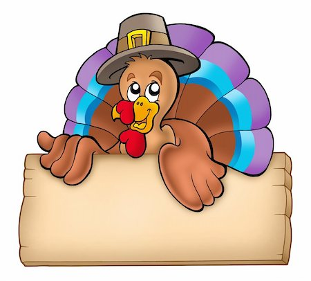 Wooden board with lurking turkey - color illustration. Stock Photo - Budget Royalty-Free & Subscription, Code: 400-04236812