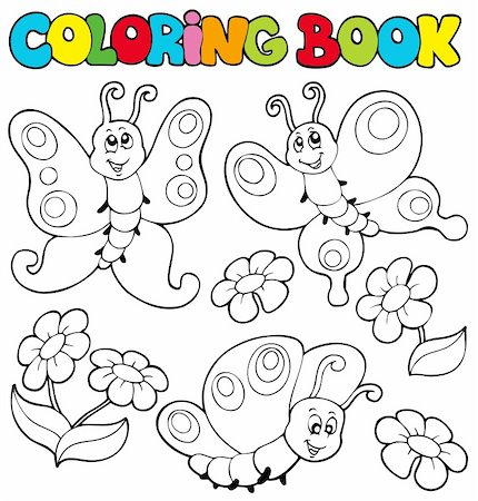 flower clipart paint - Coloring book with butterflies 1 - vector illustration. Stock Photo - Budget Royalty-Free & Subscription, Code: 400-04236827