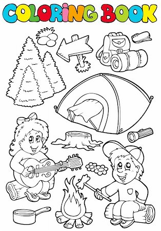 Coloring book with camping theme - vector illustration. Stock Photo - Budget Royalty-Free & Subscription, Code: 400-04236830