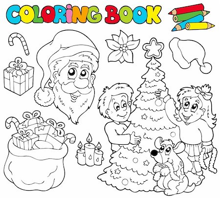 Coloring book with Christmas theme - vector illustration. Stock Photo - Budget Royalty-Free & Subscription, Code: 400-04236833
