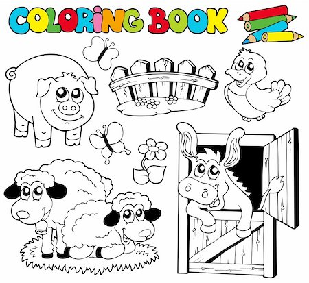 flower clipart paint - Coloring book with farm animals 2 - vector illustration. Stock Photo - Budget Royalty-Free & Subscription, Code: 400-04236843