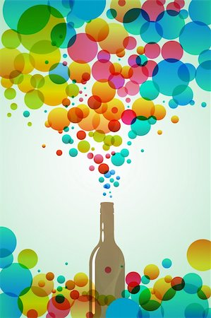 illustration of cola bottle with colorful bubbles on white background.. Stock Photo - Budget Royalty-Free & Subscription, Code: 400-04237384