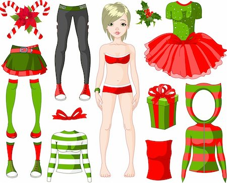 face woman beautiful clipart - Paper Doll with different Christmas dresses Stock Photo - Budget Royalty-Free & Subscription, Code: 400-04238131