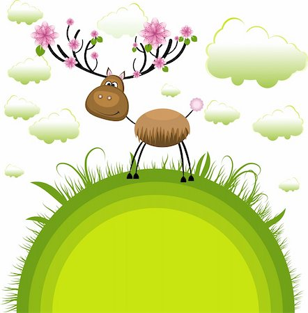 Spring reindeer . Vector Illustration Stock Photo - Budget Royalty-Free & Subscription, Code: 400-04238287