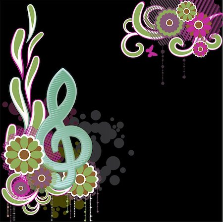 swirling music sheet - Background with Treble clef.Vector Illustration Stock Photo - Budget Royalty-Free & Subscription, Code: 400-04238328