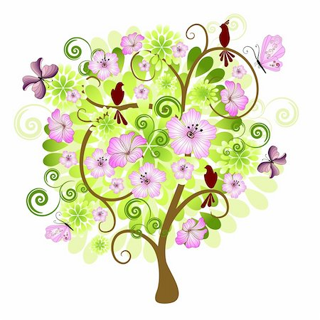 Spring isolated tree on a white background with flowers, birds and butterflies for design (vector) Stock Photo - Budget Royalty-Free & Subscription, Code: 400-04239955