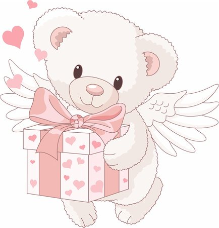 flying hearts clip art - Cute Teddy bear angel bringing the love gift Stock Photo - Budget Royalty-Free & Subscription, Code: 400-04239968