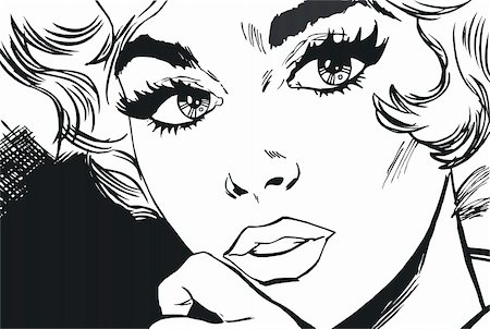 female lips drawing - face of a beautiful woman, drawn with old comic style Stock Photo - Budget Royalty-Free & Subscription, Code: 400-04230083
