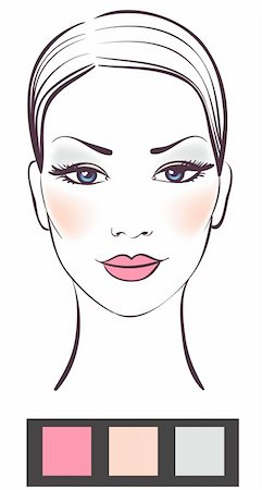 female lips drawing - Beauty women face with makeup vector illustration Stock Photo - Budget Royalty-Free & Subscription, Code: 400-04230746