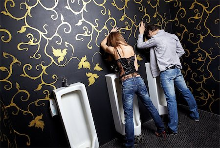 Drunk man and the woman in a night club toilet Stock Photo - Budget Royalty-Free & Subscription, Code: 400-04231493