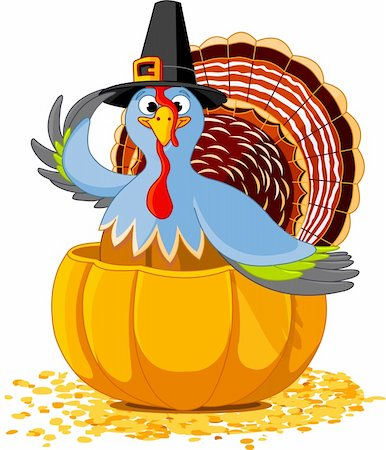 Illustration of a Thanksgiving turkey with pilgrim hat in the  pumpkin Stock Photo - Budget Royalty-Free & Subscription, Code: 400-04231668