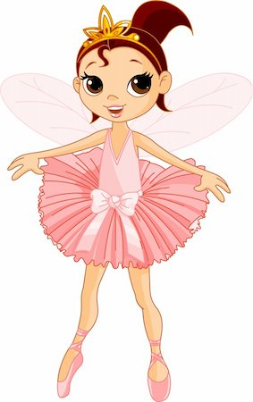 Vector Illustration of Little Cute dancing Fairy Ballerina Stock Photo - Budget Royalty-Free & Subscription, Code: 400-04232216