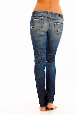Back side of young woman with bare top wearing worn jeans Stock Photo - Budget Royalty-Free & Subscription, Code: 400-04232243