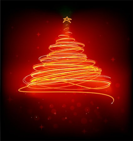 Vector illustration of orange Abstract Christmas tree on the black background. Stock Photo - Budget Royalty-Free & Subscription, Code: 400-04233256