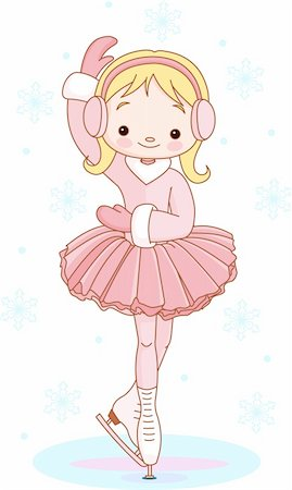 Illustration of cute Girl on ice skates Stock Photo - Budget Royalty-Free & Subscription, Code: 400-04233259