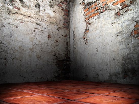 Corner room of the cracks of the brick walls cement plaster red floor Stock Photo - Royalty-Free, Artist: nuttakit, Image code: 400-04233373