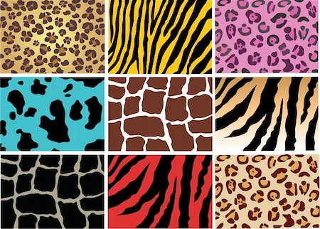 vector illustration of animal skin texture wild and domestic Stock Photo - Budget Royalty-Free & Subscription, Code: 400-04233758