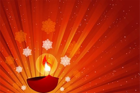 spark vector - illustration of diwali with diya Stock Photo - Budget Royalty-Free & Subscription, Code: 400-04233802