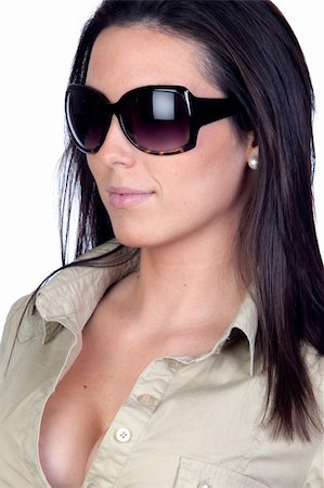 Sexy girl with sunglasses isolated on a over white background Stock Photo - Budget Royalty-Free & Subscription, Code: 400-04233976