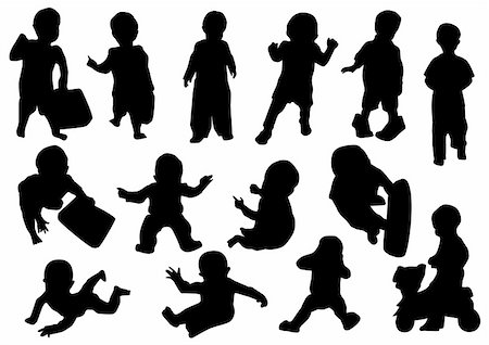 vector illustration of silhouettes of children Stock Photo - Budget Royalty-Free & Subscription, Code: 400-04240498